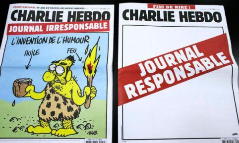 """En 2012, suite à des accusations concernant des caricatures de Mahomet publié dans l'hebdo, le journal satiriques Charlie Hebdo publie deux versions de son journal : une version """"classique"""" irresponsable et une version responsable (sans texte, ni dessin) - une manière de dire on ne peut pas être ce qu'on n'est pas."""